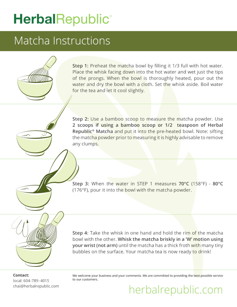 Herbal Republic - Matcha Tea Instructions - 136K